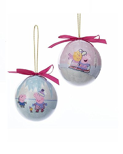 Kurt Adler Peppa Pig Decoupage Christmas Ball Ornament - 2 Assorted: Skating And Sledding (Decoupage Ball)