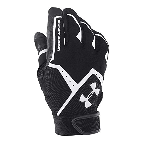 Under Armour Men's Clean-Up VI Batting Gloves, Black (001)/White, Small/Medium
