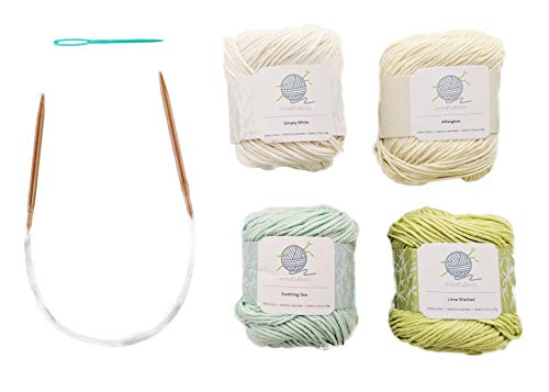 Mindfulness Knitting Kit, includes 100% Cotton Knitting Yarn, Circular Knitting Needles, Yarn Needle, Zen Colors; Knit for mindfulness and relaxation - By mindfulknits