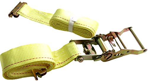 "(DKG 2"" x 12' E Track Ratchet Straps – Ideal Enclosed Trailer Tie Down & Dry Van Cargo Straps – Standard E Track Spring Fittings or Connectors – Heavy Duty Steel Ratchet & Polyester Webbing (25 Pack))"