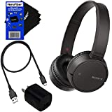 Sony Bluetooth Wireless On-Ear Headphones WH-CH500 (Black) + USB Cable & Wall Charger + HeroFiber Cleaning Cloth