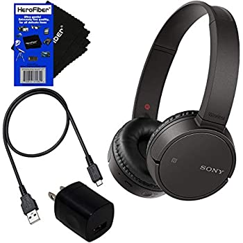 7b33c66dc1b Sony Bluetooth Wireless On-Ear Headphones WH-CH500 (Black) + USB Cable &  Wall Charger + HeroFiber Cleaning Cloth