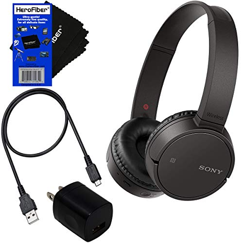 Sony Bluetooth Wireless On-Ear Headphones WH-CH500 Black USB Cable Wall Charger HeroFiber Cleaning Cloth