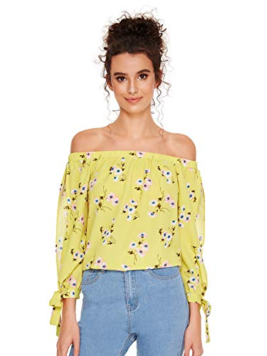 SheIn Women's Off Shoulder Slit Sleeve Tie Cuff Blouse Top X-Large Floral#2
