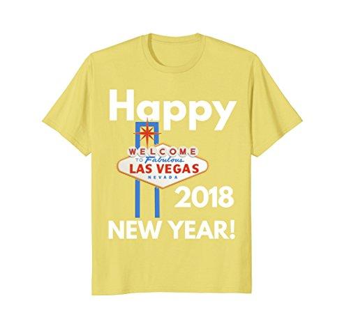 Mens Happy New Year 2018 T-Shirt. Las Vegas Happy New Year Shirt 2XL Lemon