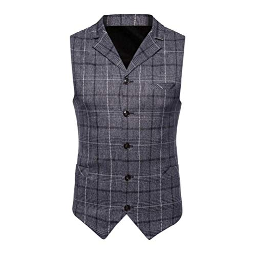 (iLXHD Casual Men Plaid Printed Sleeveless Jacket Coat Suit Vest Blouse)