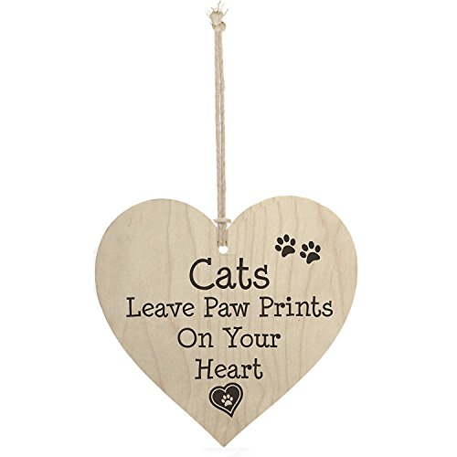Meijiafei Cats Leave Paw Prints On Your Heart Shaped Wooden Hanging Plaque Cat Lovers Sign (Cat Sign Plaque)