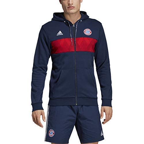 adidas Men's FC Bayern Hoodie (Large) Collegiate Navy/FCB True Red/White