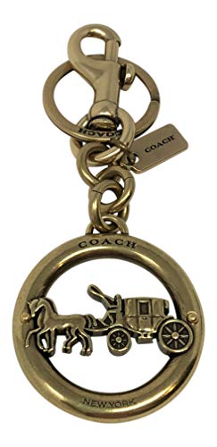 Horse and Carriage Gold Tone Bag Charm Keychain Key Fob F32227