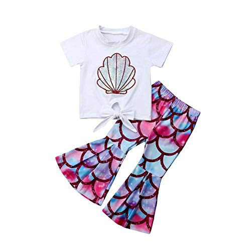 Scale Bell - Toddler Baby Little Girls Mermaid T-Shirt Top Fish Scale Bell Bottom Pant Outfits Sets 2pcs Summer Clothes (Mermaid T Shirt Top Fish Scale Bell Bottom Pant, 3-4 Years)