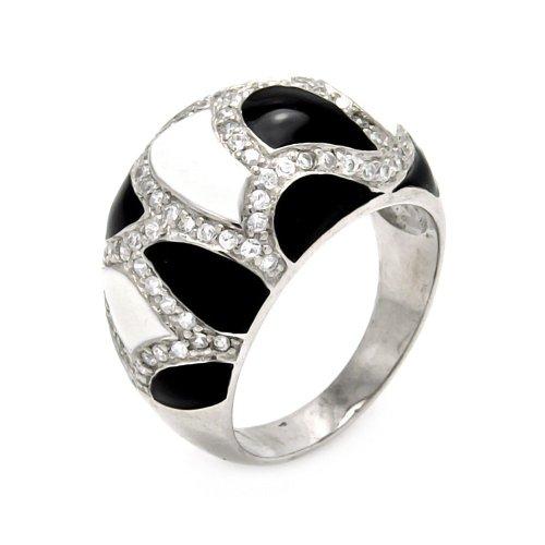 Sterling Silver Rhodium Plated Black & White Enamel CZ Ring STR00280 Size 8