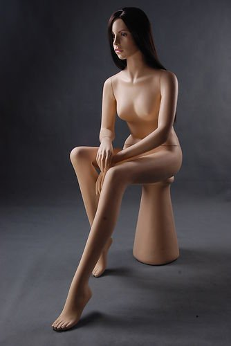 Brand New Stunning Sexy Female Full Body Fiberglass Realistic Sitting Mannequin Flesh Tone With Stool + Wig (LZM1) by Only Mannequins®