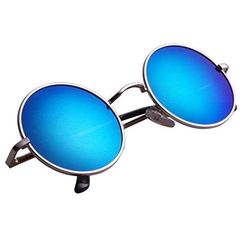 Aoron Vintage Round Sunglasses with Polarized Mirrored Lenses for Retro Women and Men (Light Blue Mirrored, 46mm lens - Polarized Blue Light