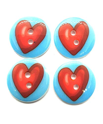 26 Pcs Cute red Heart Printed Graphic Buttons 2 Holes Size 18 Mm