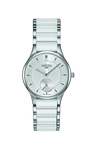Roamer Women's Watch Silver Dial White Ceramic Strap 677855 41 15 60