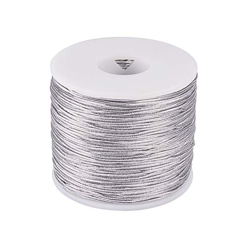 PH PandaHall 1mm 100m/ 109 Yards Metallic Tinsel Elastic Cord Polyester Ribbon Stretch Cord for Jewelry Making Gift Wrap Ribbon, Silver ()