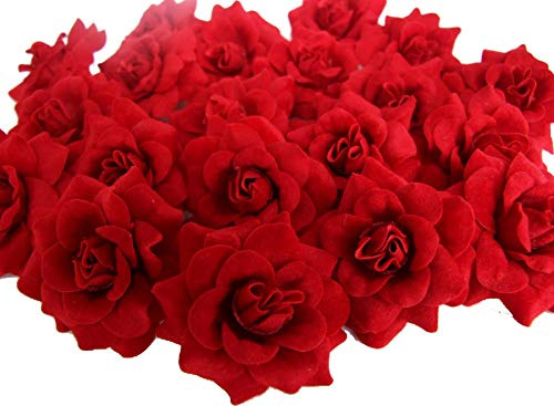 """ICRAFY (24) Silk Dark Red Roses Flower Head - 1.75"""" - Artificial Flowers Heads Fabric Floral Supplies Wholesale Lot for Wedding Flowers Accessories Make Bridal Hair Clips Headbands Dress"""