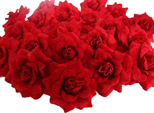 ICRAFY (24) Silk Dark Red Roses Flower Head - 1.75