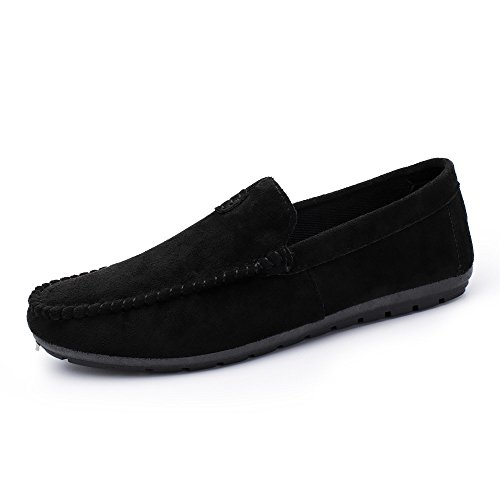 (Men Leather Shoes Men Comfortable Suede Shoes Style Young Cool Men's Casual Driving Bean Solid Color Shoes (US:6.5,)