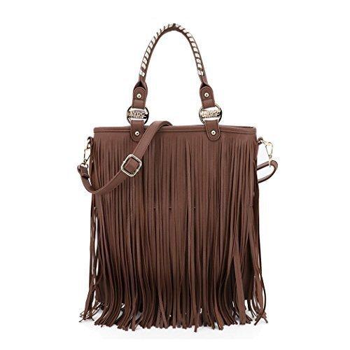 K2 Faux Womens Leather Coffee LYDC Ladies Tassel Fringe Handbags Handle Top Grab Fashion BqUHwRxq6