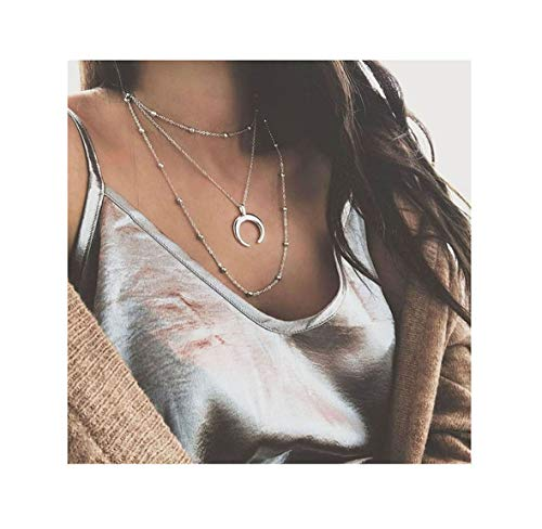 - Eoumy Triple Layer Clavicle Beads Chain Choker Necklace Moon Horn Pendant Necklace for Women