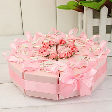 Pink Bow And Faux Pearl Topper Cake Slice Box (Set of 10)