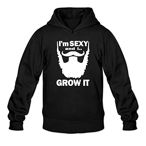 Men's Sexy Beard Funny Cool Hoodie Black X-Large (It Firday)