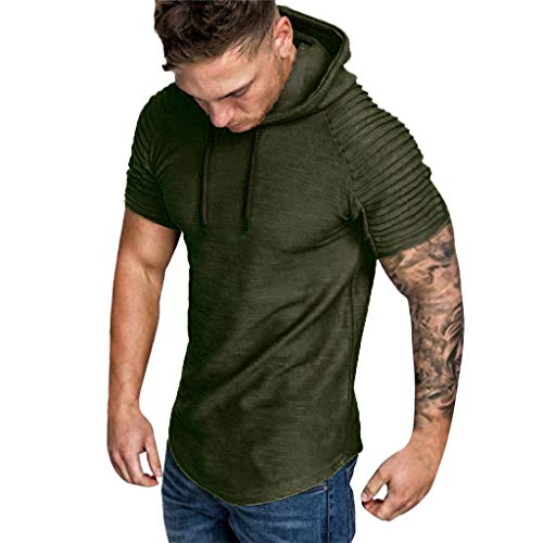 (Willow S ☪✯ღ☪Fashion Mens Autumn Winter Pleats Round Neck Fake Two Pieces Slim Fit Raglan Short Sleeve Hoodie Top Blouse Army Green)
