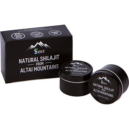 (Sayan Pure Authentic Altai Shilajit | Organic Fulvic Acid Supplement and Trace Minerals for Detox, Immune + Energy Support | Genuine, High Efficacy Resin for Women and Men | 30 Grams, 4 Month Supply)