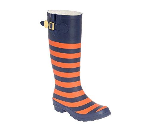 Mørk Blå Og Oransje Gummistøvler Lh
