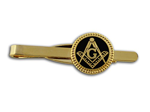Masonic Lodge Regalia - Masonic Tie Bar / Tie Clip for Free Masons with black enamel weaved circle symbolism with Square and Compass Design (Masonic Symbol) (Black Weave (Black Tie Circle)