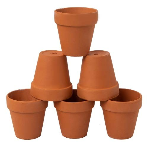 Terra Cotta Pear - AHXML 6 Pcs 5'' Large Terracotta Flowerpot with Drainage Hole for Indoor or Outdoor Plant Gardening