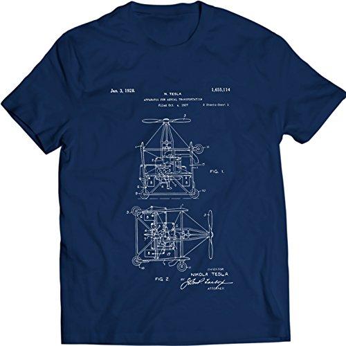 DTG MKWTees Tesla Aerial Transportation Patent 1968 T-Shirt Nicola Tesla Tee (M, Navy (Aerial Film)