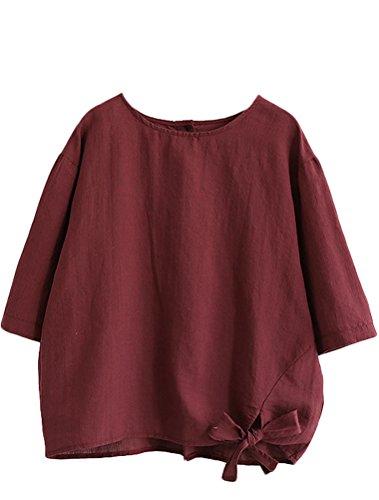 (Minibee Women's Cotton Linen Blouse Loose Tunics Tops Shirt XL Red)