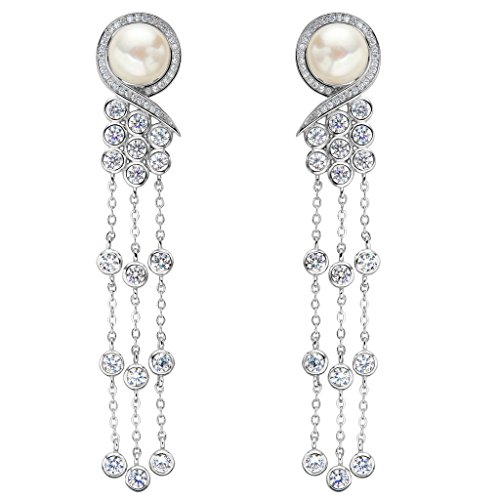EleQueen 925 Sterling Silver CZ AAA Button Cream Freshwater Cultured Pearl Victorian Style Long Tassel Bridal Dangle Earrings