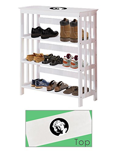 Men's White Finish Large Shoe Rack (Shoes NOT Included) Featuring Your Choice of a Novelty Themed Decal. Great for the Closet, Entry Way, or Mud Room! (Movie Reel)