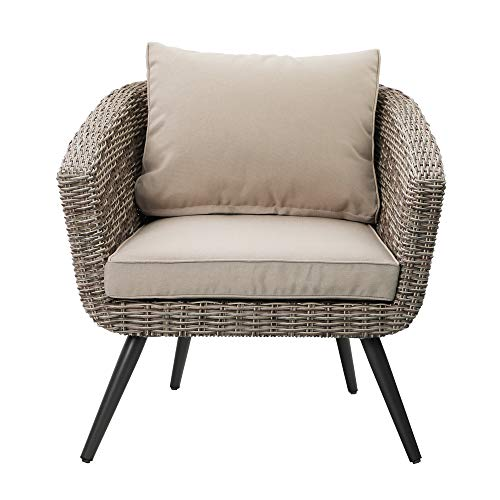 PHI VILLA Outdoor Patio Brushed Rattan and Gradual Changing Color Wicker Sofa,Arm Seat Barrel Chair for Garden,Yard,Indoor,Living Room
