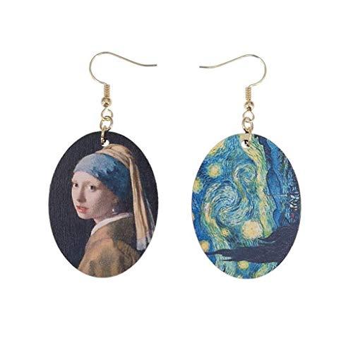 Kofun Earrings, Johannes Vermeer Oil Painting Art Girls Natural Wood Earrings Fashion Jewelry
