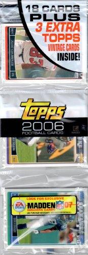 1 (One) Rack Pack - 2006 Topps Football Rack Pack (18 Cards per Rack Pack) - Possible Reggie Bush, Matt Leinart, Vince Young, DeAngelo Williams, Vernon Davis, Joseph Addai, Laurence Maroney, Marques Colston, Maurice Jones-Drew, Devin Hester, Greg Jennings and/or Jay Cutler Rookie Cards!!! ()