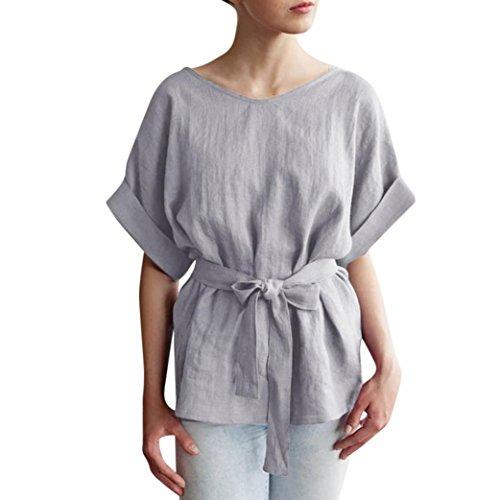 Women Casual Belt Kimono Top Solid Linen Shirt Loose Batwing Short Sleeve Blouse(Gray,Medium) (Linen Silk Belt)