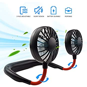 Hand-Free Personal Fan, Mini Portable USB Rechargeable Fan, with 3 Speed Adjustable, 360 Degrees Free Rotation Perfect for Traveling, Sports and Office Room, Headphone Design, Neckband Wearable