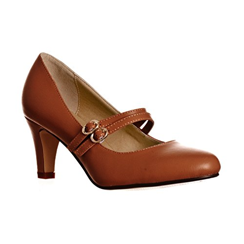 (Riverberry Women's Mila Chunky, Mid Heel Mary Jane Pump Heels, Brown PU, 7)