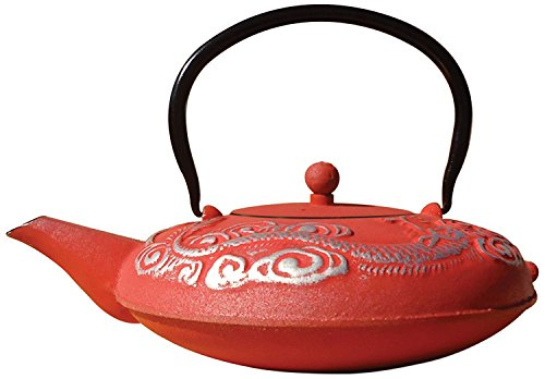 Japanese Cast Iron Teapot /Dragon Red by dtpw