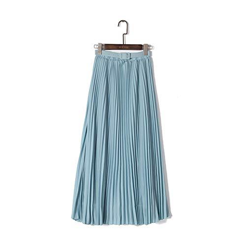 Charm temptation Chiffon Pleated Skirt Summer New Women Long Maxi Skirts Tutu Elastic Waist Belt Bohemian Solid Femme