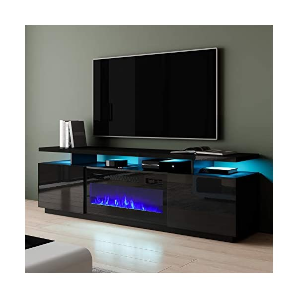 "Meble Furniture Eva-KBL Electric Fireplace Modern 71"" TV Stand"