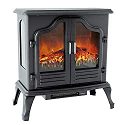 FLAME&SHADE 25 inch Electric Fireplace Stove w/Heater 1500w Free Standing Portable Cast Iron-Style Remote Control Included - Black by FLAME&SHADE
