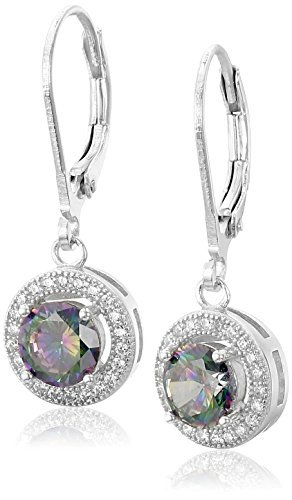 925 Sterling Silver MysticColored AAA Cubic Zirconia Halo Drop Leverback Dangle Earrings