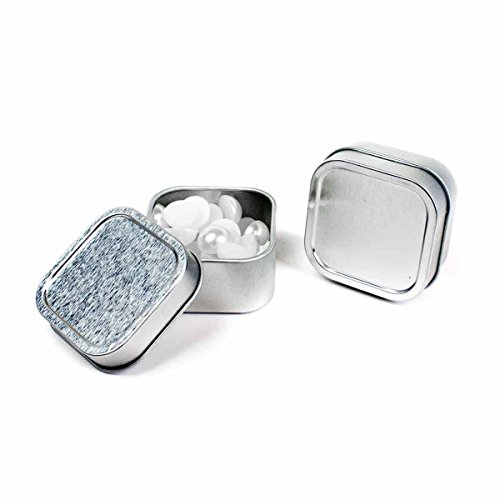 Mimi Pack 4 oz Square Metal Tin Rounded Corners Solid Slip Top Lid Steel Containers For Cosmetics, Favors, Spices, Balms, Gels, Candles, Gifts, Storage 24 Pack (Silver)