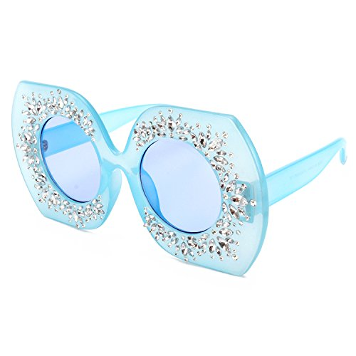 ROYAL GIRL Retro Modern Women Sunglasses Oversized Crystal Embellish Fashion Shades (Jelly Bule, - Fashion Retro Modern