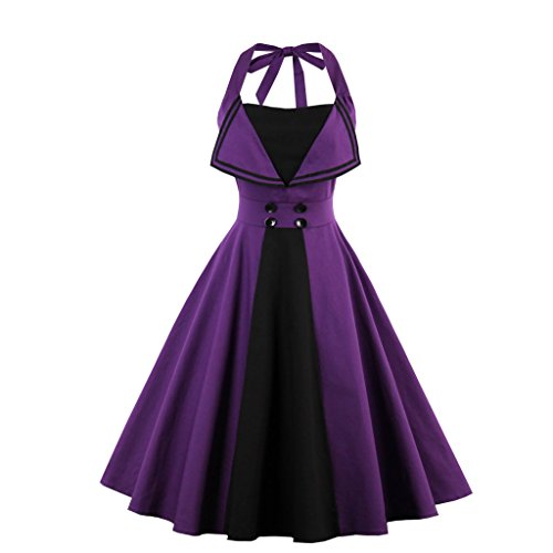 [Vintage Halter Cocktail Dress 1950S Retro Swing Homecoming Dresses Purple 2XL] (1950 Dress)